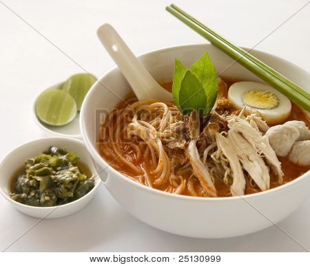 Oriental spicy curry Laksa soup with green chili