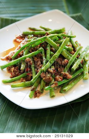 Asian style stir-fried string beans with beef