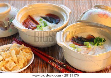 Chinese Rice Porridge (congee) served in claypot