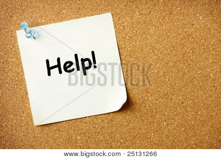 Help note pinned to corkboard background