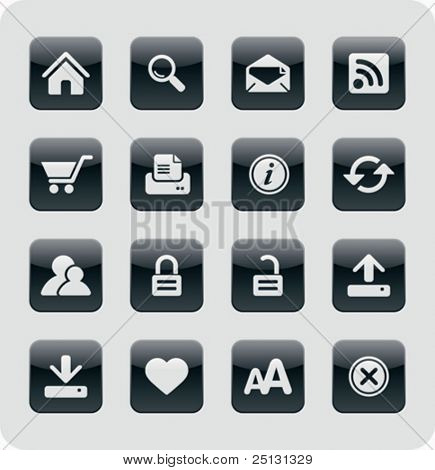 Glänzend Internet / Web Icons | Black series
