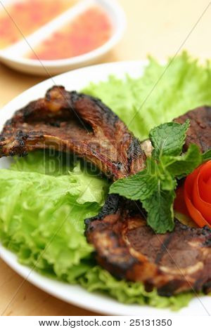 barbeque pork chop dinner