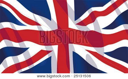 Vector stylish waving United Kingdom flag