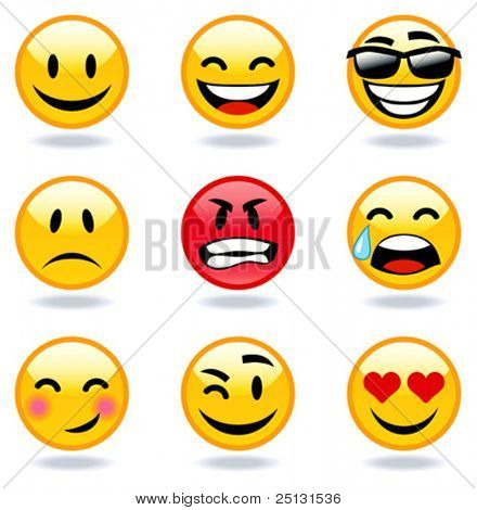 Happy, sad, angry, in love faces of emoticon.