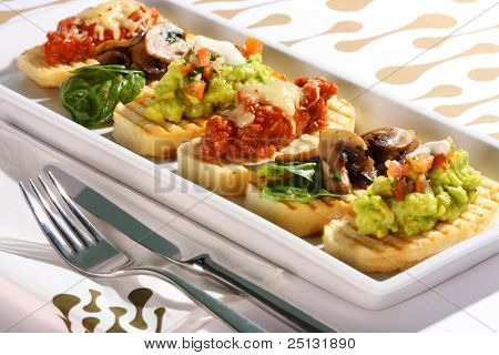 A selection of bruschetta