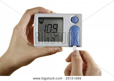 Sugar blood test reading on glucometer
