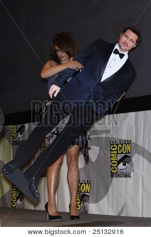 SAN DIEGO - JULY 22: Tina Fey and Brad Pitt cardboard at a panel for the movie 'Megamind' on Day 1 of Comic-Con 2010 on July 22, 2010 in San Diego, California