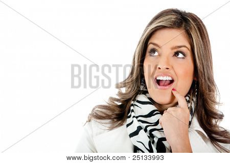 Surprised business woman portrait - isolated over a white background