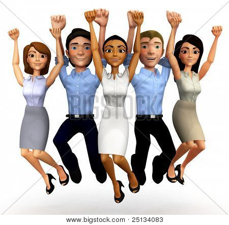 3D Happy business group jumping - isolated over a white background