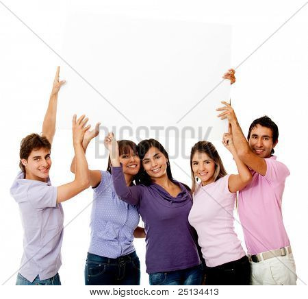 Happy group of people with a banner - isolated over white