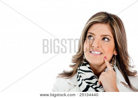 Thoughtful business woman looking up - isolated over a white background