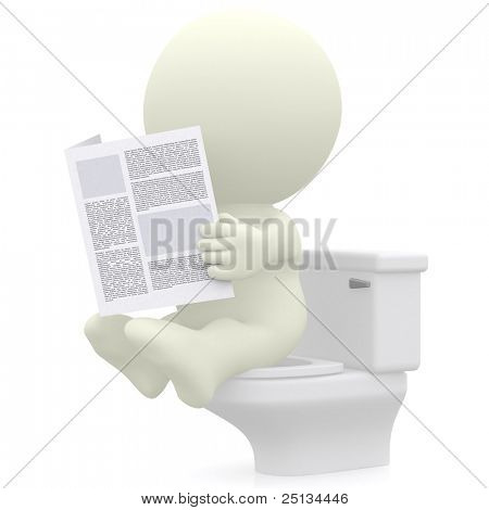 3D man reading newspaper in the toilet - isolated over a white background