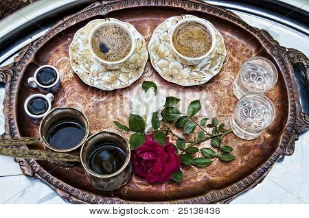 Traditonal Turkish Coffee With Rose