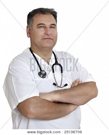 Male Doctor Isolated On White With Path