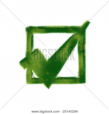 Check box symbol made of realistic green grass