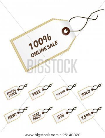 Paper tags set vector set