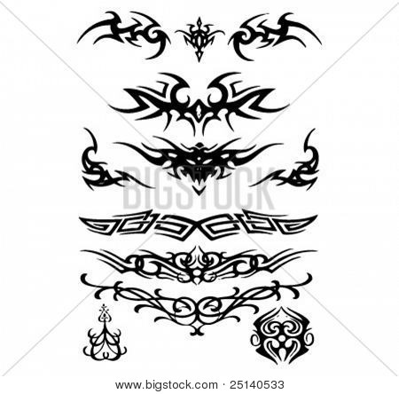 A collection of tribal tattoo design illustrating wings