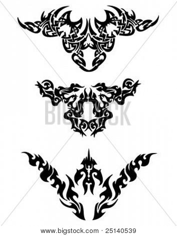 A set of tribal tattoo design illustrating abstract wings.