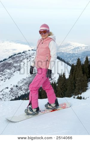 Snowboard Girl Before Downhill With Mouting Pass