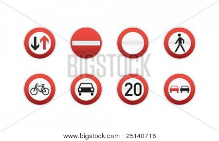 set of 8 traffic signs