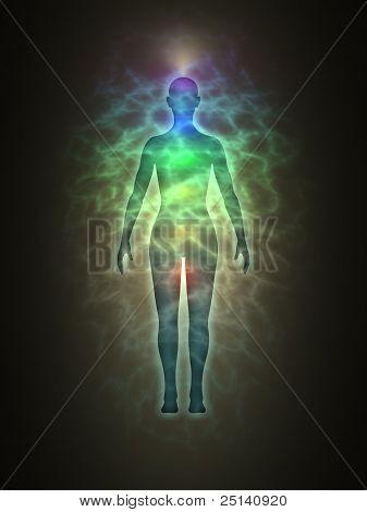 Menschlichen Energiekörpers, Aura, Chakren, Energie, silhouette