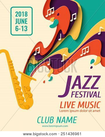 poster of Jazz Festival - Music Paper Cut Style Poster For Jazz Festival Or Night Blues Retro Party With Saxop