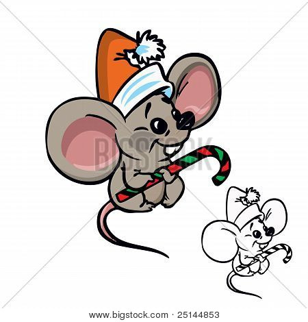 cute Christmas mouse with candy