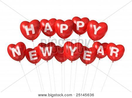 Red Happy New Year Heart Shaped Balloons