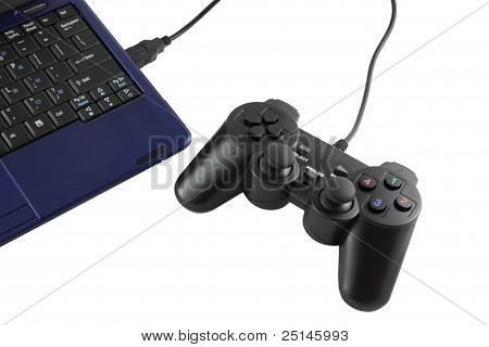 Game controller connected to keypad