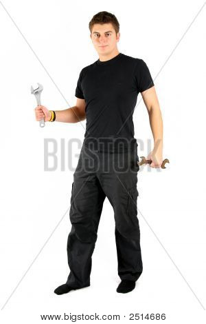 Man In Black With Tools