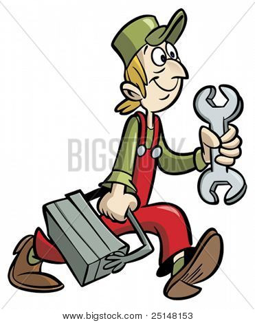 Handyman cartoon holding wrench and tool box
