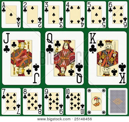 Club suit large index. Jack, queen and king double sized. Green background in a separate level