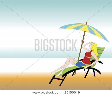 Illustration Of A Girl Relaxing On The Beach