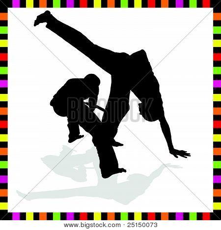 Capoeira Couple Black Silhouette