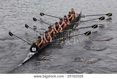 BOSTON - OCTOBER 23: McQuaid Jesuit Crew youth men's Eights races in the Head of Charles Regatta. Ma