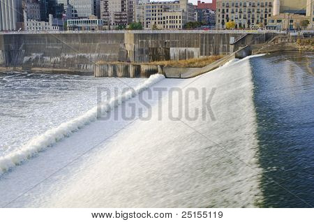 Upper Saint Anthony Dam And Falls In Minneapolis