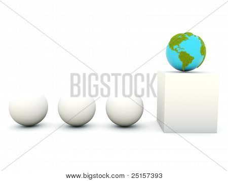 Earth with grass on podium