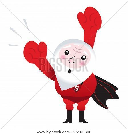 Flying Santa Superhero Isolated On White ( Retro )..