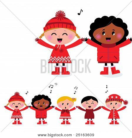 Happy Smiling Caroling Multicultural Kids Singing Song