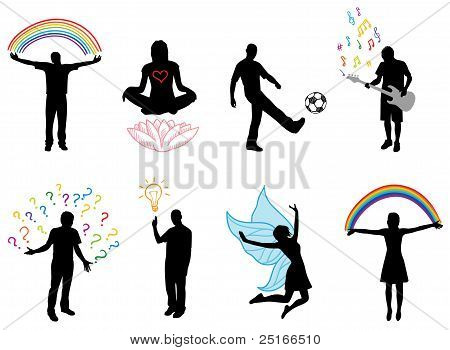Concept Pictures With People Silhouette In Different Actions, Vector
