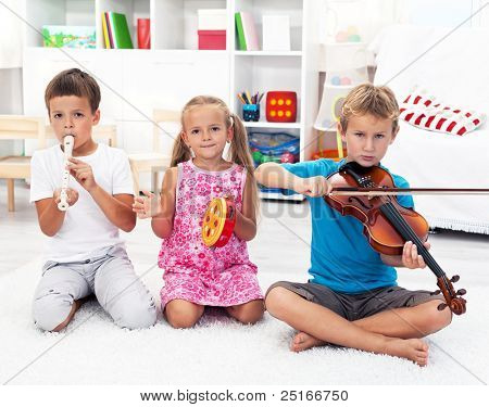 Our first band - Kids playing on musical instruments