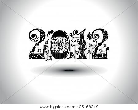 elegant & artistic work design for upcoming new year celebration with text 2012