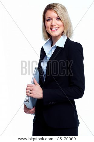 Financial adviser business woman. Isolated over white background.