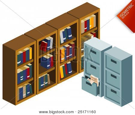 Bookshelf. Isometric Series. Compose Your Own World Easily with Isometric Works.