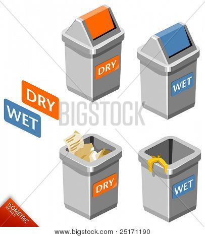 Trash Bin Isometric Vector