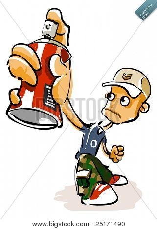Urban graffiti Boy. Vector Cartoon