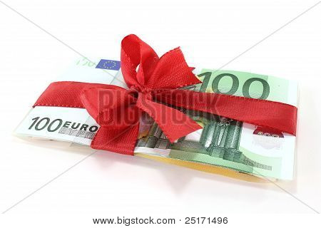 Euro Notes With Red Ribbon