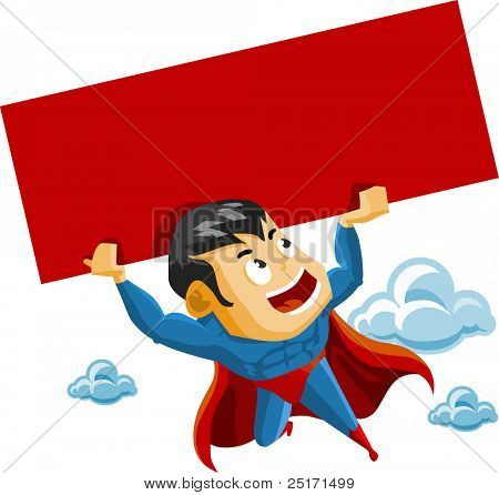 Superhero lifts Sign. Detailed vector Illustration.