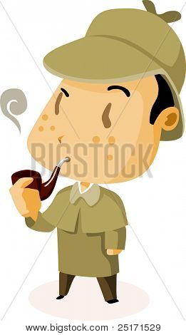 British Detective. Colorful Detailed vector Illustration.