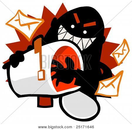 Email Hack a kind of fraud crime. Vector Illustration
